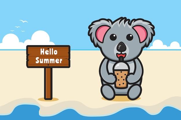 여름 인사말 배너 만화 아이콘 일러스트와 함께 귀여운 코알라 음료 boba
