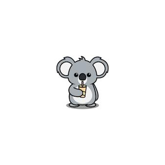 Cute koala drinking water cartoon isolated on white