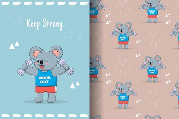 Cute koala dumbbell seamless pattern and card