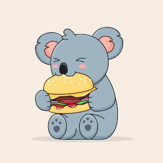 Cute koala eating burger