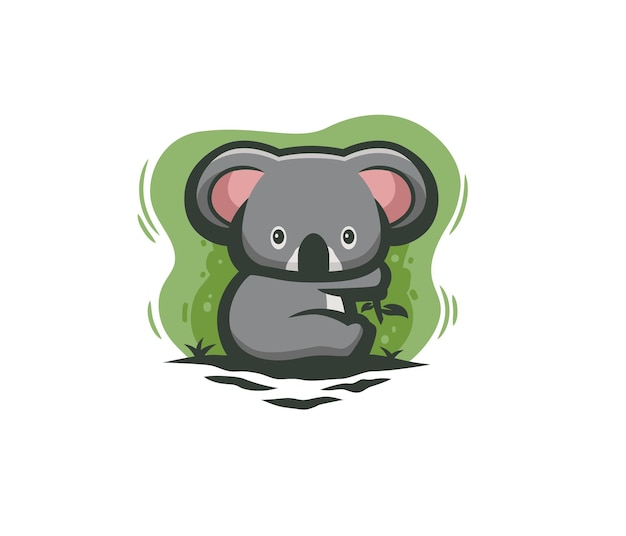 かわいいコアラを食べるユーカリのイラスト