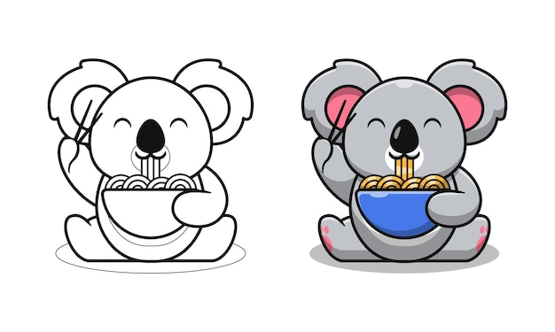 Cute koala eating noodles cartoon coloring pages for kids
