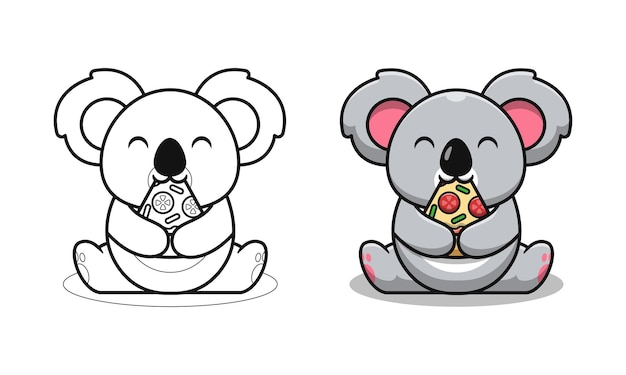 Cute koala eating pizza cartoon coloring pages for kids
