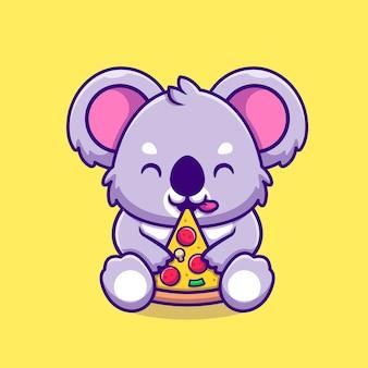 귀여운 코알라 먹는 피자 만화 아이콘 그림. 동물 음식 아이콘 개념입니다. 플랫 만화 스타일