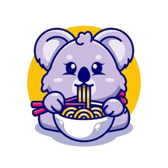 箸漫画でラーメンを食べるかわいいコアラ