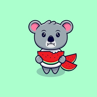 Cute koala eating watermelon mascot cartoon