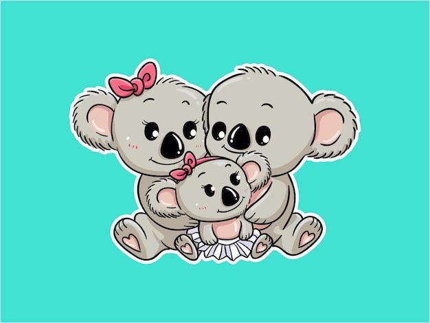Cute koala family hug each other character illustration