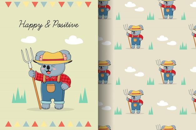 Cute koala farmer seamless pattern and card