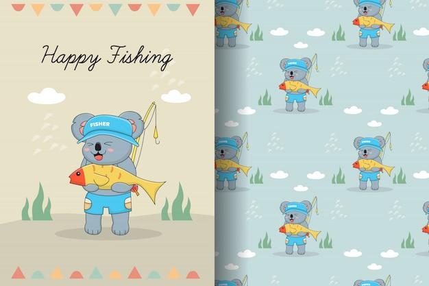 Cute koala fisher seamless pattern and card