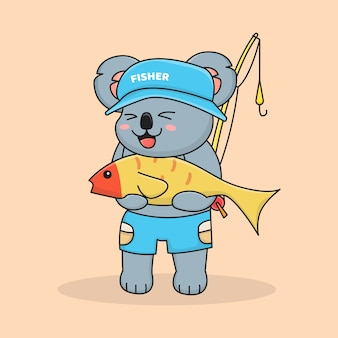 帽子をかぶっているかわいいコアラ漁師