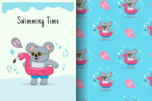 Cute koala flamingo rubber seamless pattern and card