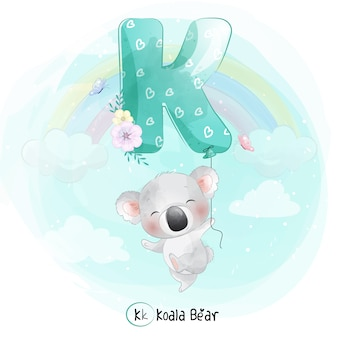 Cute koala flying with alphabet-k balloon