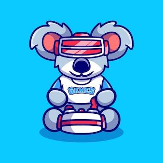 Cute koala gamer playing game with virtual reality headset