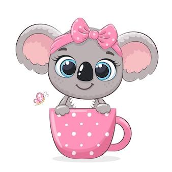 Милая девочка коала. векторная иллюстрация мультфильма.
