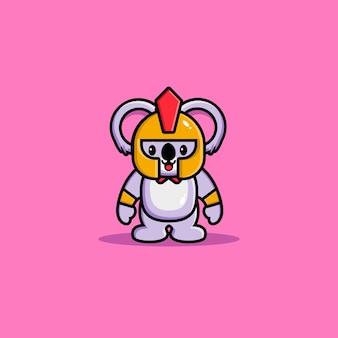 Cute koala gladiator cartoon icon illustration. animal hero