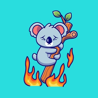 Cute koala hanging on burning tree cartoon . animal nature icon concept isolated  . flat cartoon style