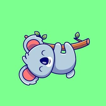 木の漫画にぶら下がっているかわいいコアラ。分離された動物の性質のアイコンの概念。フラット漫画スタイル