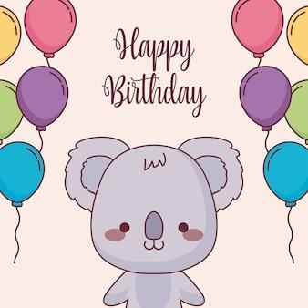 Cute koala happy birthday card with balloons helium