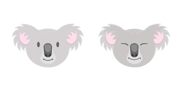 目を開けて閉じたかわいいコアラの頭は子供っぽいスタイルのオーストラリアのクマの顔