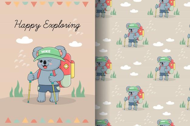 Cute koala hiker seamless pattern and card
