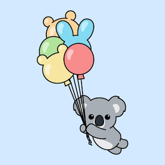 Cute koala holding balloons cartoon
