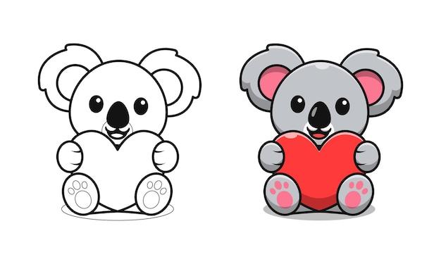 아이들을위한 사랑 만화 색칠 공부 페이지를 들고 귀여운 코알라