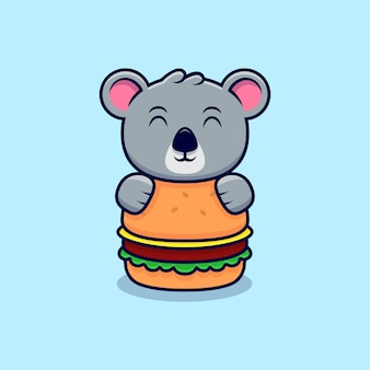 Cute koala hug the big burger mascot cartoon