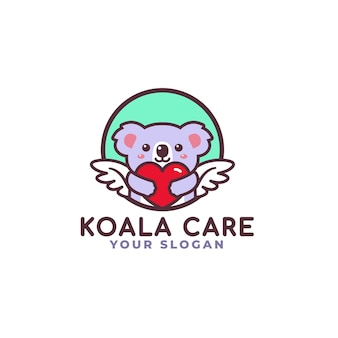 Cute koala hugging heart care logo