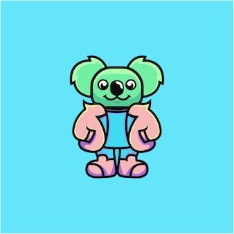 Cute koala illustration in cool dress cartoon style
