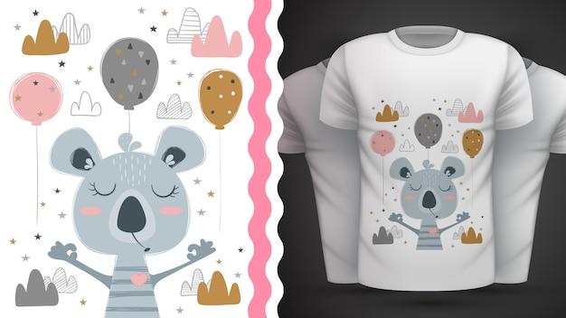 Cute koala illustration for print t-shirt