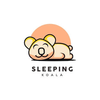 Cute koala illustration sleeping cartoon style