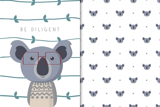 Cute koala illustration with seamless pattern in the white backdrop