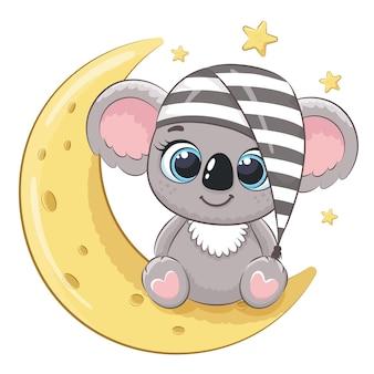 月の眠っている帽子のかわいいコアラ。漫画のベクトルイラスト。