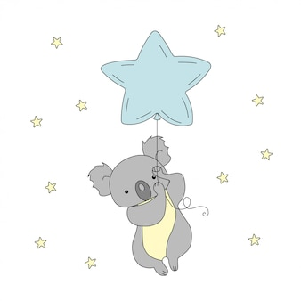 A cute koala is flying a balloon in the sky among the stars.
