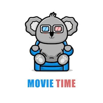 Милая коала смотрит мультфильм иллюстрации фильма