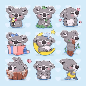 Cute koala kawaii cartoon characters set. adorable and funny smiling animal running, sleeping, bathing and eating isolated stickers, patches pack. anime baby koala on blue background