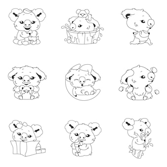 Cute koala kawaii linear characters pack. adorable and funny animal running, bathing, sleeping on moon isolated stickers, patches. anime baby koala doodle emojis thin line icons set