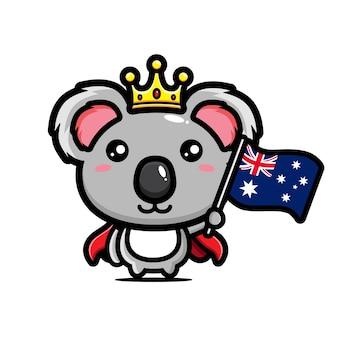 호주 국기를 들고 귀여운 코알라 킹