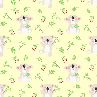 Cute koala and leaves on yellow pastel color background.