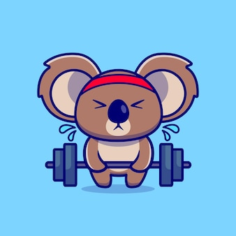 Cute koala lifting barbell cartoon illustration