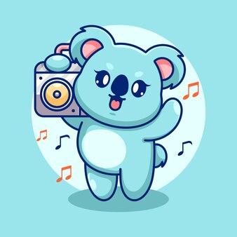 Милая коала слушает музыку с мультяшным бумбоксом