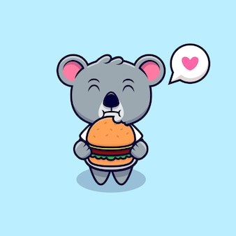 Cute koala love to eat burger mascot cartoon
