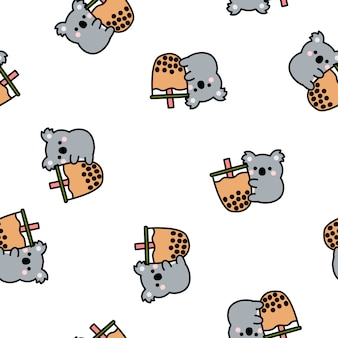 Cute koala loves bubble tea cartoon seamless pattern, vector illustration