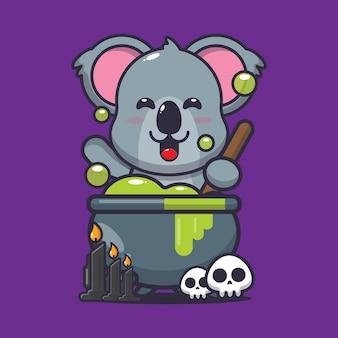 Cute koala making potion poison helloween cute halloween cartoon vector illustration