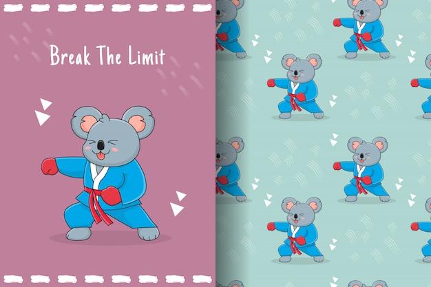 Cute koala martial punch seamless pattern and card