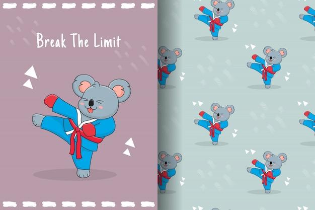 Cute koala martial seamless pattern and card