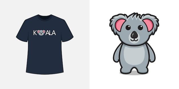 Симпатичный талисман коалы в стиле футболки и модный дизайн одежды, типографская печать, векторные иллюстрации.