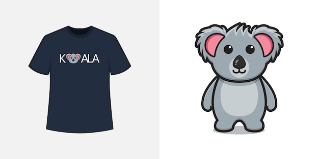 Cute koala mascot character t shirt style and trendy clothing design, typography print, vector illustration.