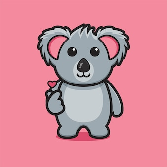 Cute koala mascot character with finger love pose cartoon vector icon illustration