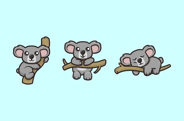かわいいコアラのマスコットデザインイラストベクトルテンプレートセット